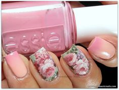 Miki Nails Water Decals & gradient nails using Essie A Crewed Interest & Flawless