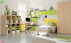 Dielle White Based Kids Rooms with Colorful Furniture : Soothing White Based Kids Room with Cactus Wall Decor and SpaceSaving Movable Bed
