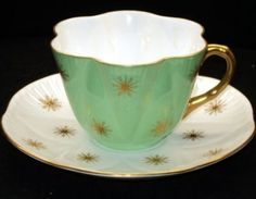 $325 - SHELLEY DAINTY GOLD CRYSTALS TEA CUP AND SAUCER RARE