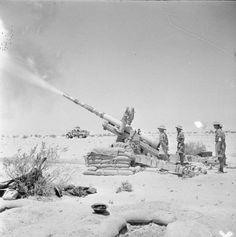 A British 4.5-inch field gun in action south of El Alamein, July 1942.