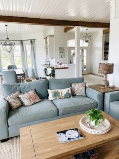 Shingle Style Beach House Tour — Seabrook | The Inspired Room Wythe Blue, Beach House Tour, Door Paint Colors, Apartment Living, Living Rooms, Basement Renovations, Painted Doors, Coastal Cottage, Colorful Interiors