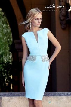 Cocktail dresses for the mother of the bride or stylish guests in light blue. Get to know an amazing mother of the bride dress designer: Carla Ruiz and her modern approach to dressing up the MOB in style! Elegant Dresses, Beautiful Dresses, Short Dresses, Formal Dresses, Wedding Dresses, Wedding Outfits, Bride Dresses, Belted Dress, Bodycon Dress