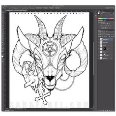 dearfabel: Goat head. Linework finished and scanned in. (Taken with Instagram at Victims Of Ink)
