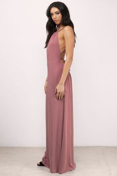 """Shop the """"Lake Halter Maxi Dress"""" on Tobi.com now! braided straps low open back backless high neck loose fitting comfy maxi floor length wedding guest formal flowy"""
