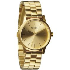 Nixon The Small Kensington Watch in All Gold ($175) ❤ liked on Polyvore featuring jewelry, watches, gold, nixon wrist watch, gold jewellery, vintage style watches, vintage style jewelry and dial watches