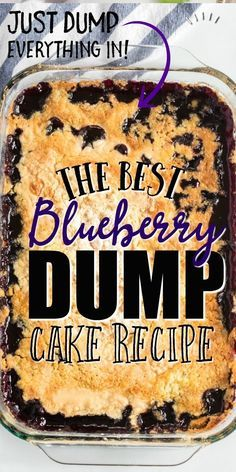Blueberry dump cake is near perfection. It combines canned blueberry pie filling with shredded coconut, melted butter and yellow cake mix. It comes together in just moments and bakes to create a gol Cake Mix Desserts, Köstliche Desserts, Delicious Desserts, Dessert Recipes, Dessert Healthy, Fruit Dessert, Indian Desserts, Fruit Pie, Blueberry Dump Cakes