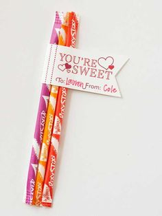 Pixie Sticks Valentine Tag  The recipient of this sweet trio will appreciate the unique shape of the label. Use different cutting techniques or scrapbooking scissors to add a trendy touch to every Valentine.