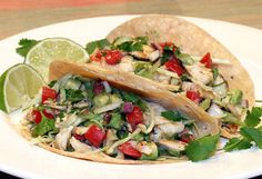 Fresh & healthy tacos made with marinated, grilled halibut (or other fish) and vegetables, served with a colorful salsa, lime wedges & corn or flour tortillas.