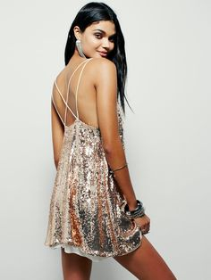 e78ca7f0d45 NEW Free People rose gold Sequin Chiffon Sheer Hem Strappy Back Shift Dress  M