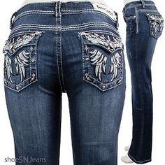 NEW Women Rhinestone Pockets Blue Wash Denim Couture Stretch Boot Cut Jeans