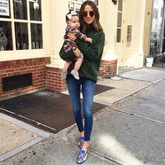 Jeans, espadrilles and cozy green sweater