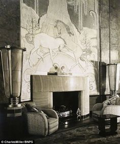 Queen Mary ~ Real fireplace in the cinema hall....