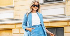 Everyone is going crazy for H&M's pastel blue corduroy suit, and we can certainly see why. Shop the look here. Pastel Blue, Going Crazy, Who What Wear, Corduroy, Suits, Denim, How To Wear, Jackets, Shopping