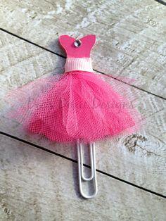 Pink Ballerina Dress Paper Clip, Dress Bookmark, FiloFax, Erin Condren, Day Planner, Kikki K, Inkwell Press, Plum Paper Planner, MAMBI