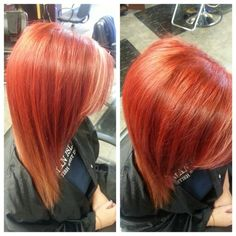 Bright red to copper ombre with peekaboo blonde highlight