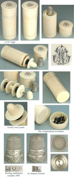 *Antique Ivory Sewing Kit / Etui w/ Sterling Thimble * C1890s
