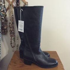 Lucky Brand Black Leather Boots Black Leather from Lucky  Brand, sz 8 wide calf. Style is Heston and these have the zipper on the outside of the calf!  Very cute. New in original box. Lucky Brand Shoes Heeled Boots