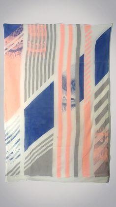 peacock vs stripe splice print; RaYés Impressions sérigraphique de châle de coton - 2013