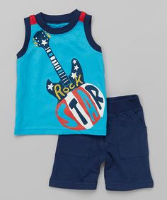 Look what I found on #zulily! Blue Guitar Tank & Shorts - Infant #zulilyfinds