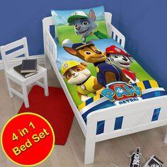 Paw Patrol 4 In 1 Junior Toddler Cot Bed Bedding Bundle  Duvet Set Dog Puppy