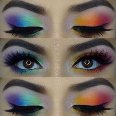Colorful Eye Makeup This season trend, dark tinted headlights, replaced with brightly colored. ** Want to know more, click on the image. #MakeupTips