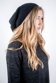 Slouchy waffle knit beanie with ribbed hem detail. Perfect for those bad hair days, throw on with yesterday's curls and walk out the door.
