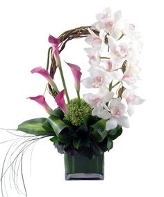 Exotic flower arrangement - Calla Lilies, Stem of Cymbidium Orchids & Green Hydrangea Contemporary Flower Arrangements, Tropical Floral Arrangements, Beautiful Flower Arrangements, Floral Centerpieces, Rare Flowers, Exotic Flowers, Tropical Flowers, Beautiful Flowers, Colorful Flowers