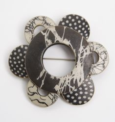 Wholioli Brooch by Louise Fischer Cozzi: Polymer Pin available at www.artfulhome.com