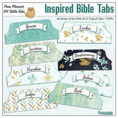 Bible Tabs for Bible Journalling / Inspired Light Teal Patterns 66 Books of the Bible side Tabs and BONUS 12 Top Topical Tabs & blank tabs #biblejournaling #bibletabs #biblestudy #inspired #floral #printable