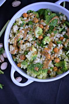 Green Goddess Salad with Pesto Couscous + Toasted Pistachio Dressing