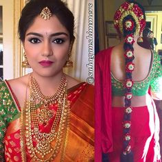 South Indian bride. Gold Indian bridal jewelry.Temple jewelry. Jhumkis. Red silk kanchipuram sari with green contrast blouse.Braid with fresh flowers. Tamil bride. Telugu bride. Kannada bride. Hindu bride. Malayalee bride.Kerala bride.South Indian wedding.