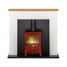 Adam Innsbruck Stove Suite in Pure White with Aviemore Electric Stove in Red 48 Inch Electric Stove, Faux Fireplace, Innsbruck, Pure White, Hearth, Home Appliances, Pure Products, Wood, Lounge