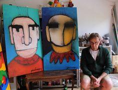 kopstukken, door Paul Megens. 2 grote schilderijen, 140 x 80 cm, mixed media. Painting, Art, Art Background, Painting Art, Kunst, Paintings, Performing Arts, Painted Canvas, Drawings