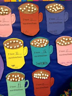 hot cocoa/marshmallow math: maybe fraction/recipe math on the mugs and cotton balls for marshmallows?