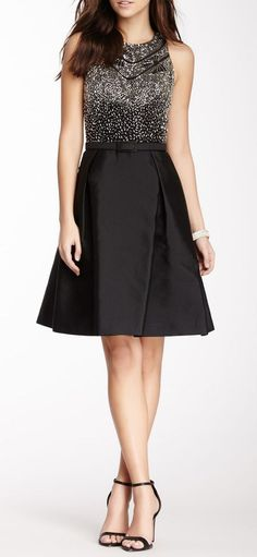 Theia Beaded Top Cutaway Belted Dress