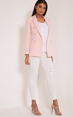 Pari Pink Double Breasted Military Style Blazer, would have some different pants but love the overall look!
