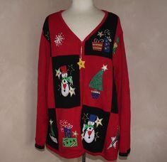 TIARA INTERNATIONAL Christmas Sweater Collection 3X Red Black Zip Up Artsy #TIARAINTERNATIONAL #FullZip