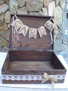 Wooden card box-rustic wedding box-country style card box