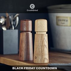 Our popular Stockholm Salt & Pepper mills in oak or wallnut and with No Spill feature. Designed by @carl_and_carl  #crushgrind #nospill #spices #grinder #lifestyle #cooking #blackfriday2016