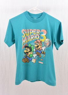 Rare Vintage Super Mario 3 T Shirt, Size XS-Small, Nintendo, 90's Clothing, Gamer, Tumblr Clothing, Teen, Rad, 1990 by littleraisinvintage on Etsy