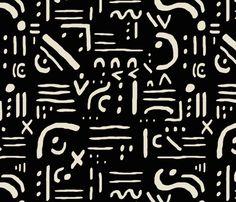hieroglyph in black fabric by domesticate on Spoonflower - custom fabric