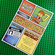 Lego Movie Emmet Collection. Invitation. by PinkadotShop on Etsy, $15.00