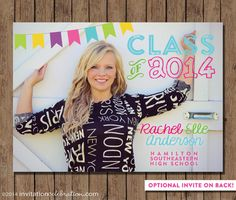 Photo Graduation Announcement or Optional Backside Invitation  Digital  PRINTABLE  by InvitationCeleb, $16.00 #neon