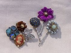 DIY bobby pins made from Grandma's Vintage Jewelry