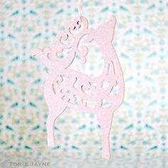 Hand painted and glittered pink reindeer tutorial by Torie Jayne