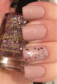 OPI My Very First Knockwurst and Barry M Rose Quartz Glitter