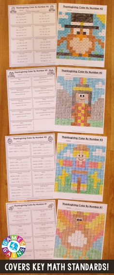 "These Thanksgiving Math Color-by-Number activities are the perfect way to review key math skills this month! As one teacher said, ""My students loved the Halloween version of these activities! I used them as a ""Fun Friday"" math activity, and they had a blast!"" Available for 2nd, 3rd, 4th, or 5th grade."