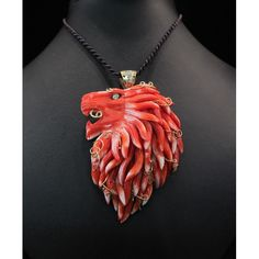 Venetian Lion, Handmade coral lion of Venice, set in gold 18kt./750% with diamonds on the top. One of the kind !