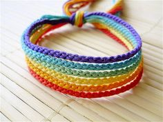 Muted Rainbow Friendship Bracelet Set  Six Thin by QuietMischief