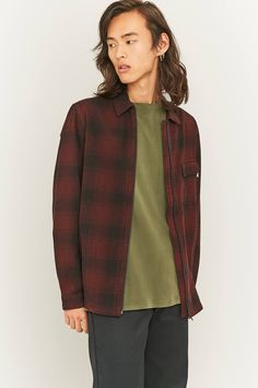 Slide View: 1: Shore Leave by Urban Outfitters Blake Berry and Black Zip-Through Overshirt